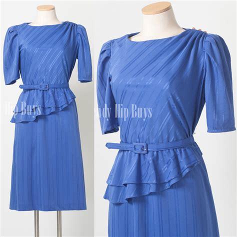 Blue Stripe S M L Dress 44985 vintage 80s periwinkle blue stripe peplum dress