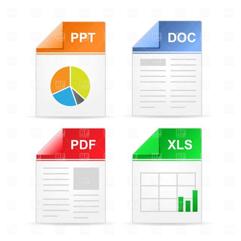 Filetype Icons Ppt Doc Pdf Xls Royalty Free Vector Free Ppt File