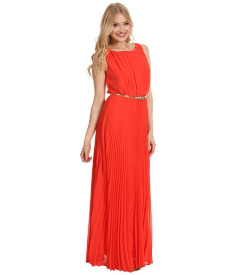 eliza j s l accordian pleated maxi dress w belt in orange