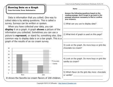 Reading Comprehension Charts And Graphs Worksheets by Showing Data On A Graph 2nd Grade Reading Comprehension