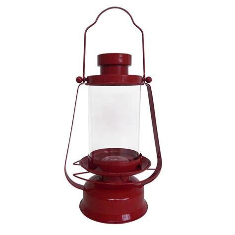 shop backyard glory red metal hopper bird feeder at lowes com