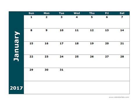 Calendar Template 2017 Blank 2017 Blank Calendar Template Free Printable Templates