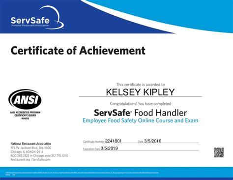 servsafe certificate template food handlers certificate food