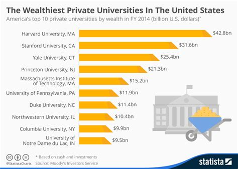chart the wealthiest universities in the united states statista