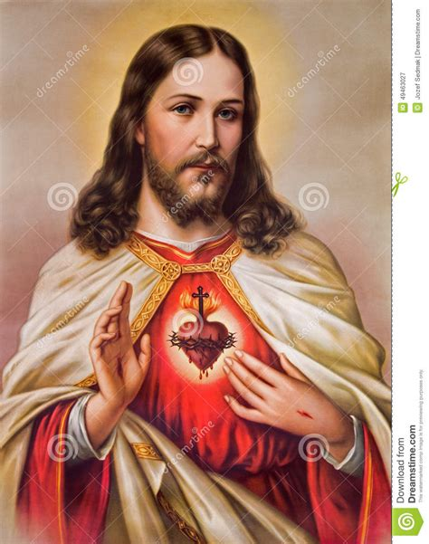 image of christ typical catholic image of heart of jesus christ stock