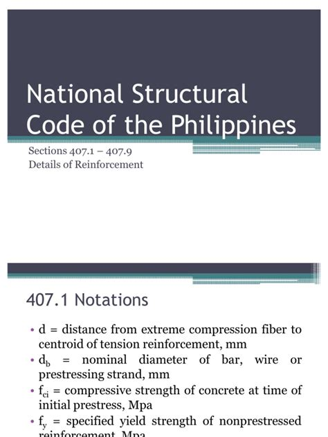 code section 412 national structural code of the philippines prestressed