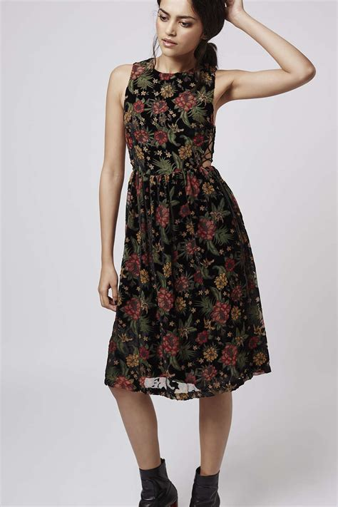 Dress Midi Flower lyst topshop devore floral midi dress in black