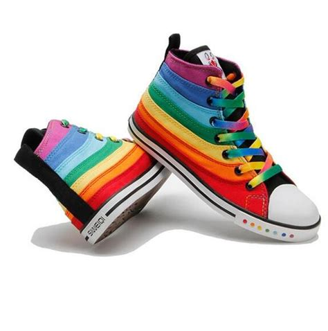 colored striped high top sneakers for rainbow canvas