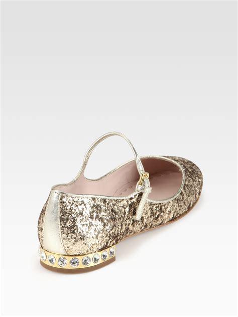 Flat Shoes Gliter miu miu glitter rhinestone heel flats in metallic lyst