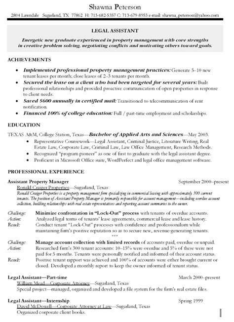 Resume Sles For Property Manager Assistants Assistant Property Manager Resume Berathen