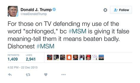 donald trump tweets trump defends using schlong to mock hillary in tweets