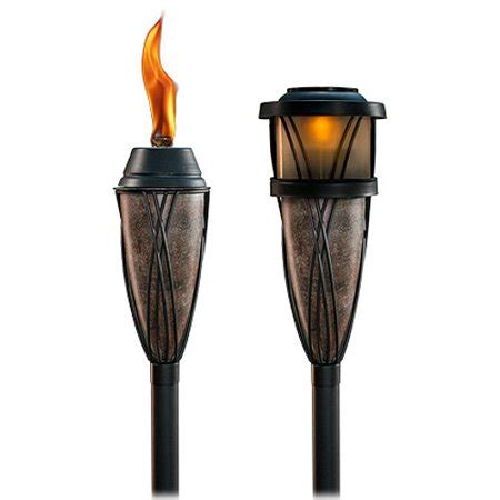 tiki brand 2 in 1 flame and solar multi use torches, set