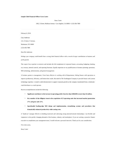 Finance Officer Application Letter Basic Chief Financial Officer Cover Letter Sles And Templates