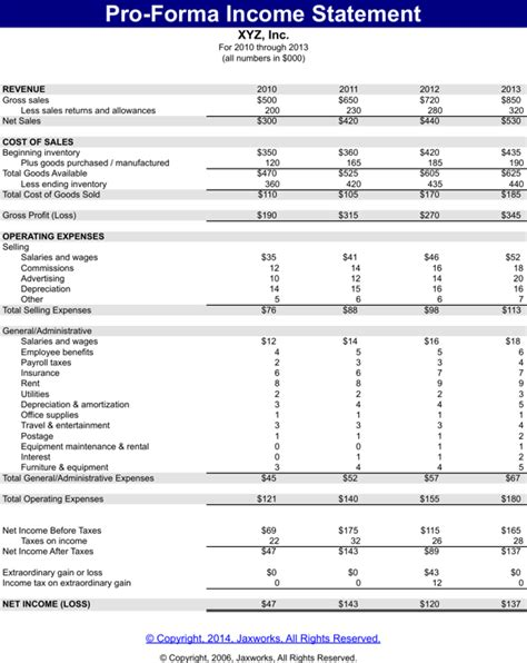 Download Pro Forma Income Statement Template Excel For Free Page 2 Formtemplate Pro Forma Income Statement Template Excel