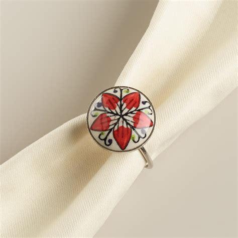 white flower ceramic napkin rings set of 4 world market