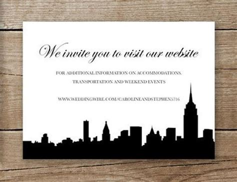 New York City Wedding Invitation Website Insert Or Rsvp Card Wedding Website Card Templates