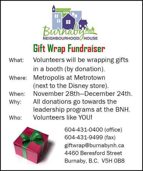 gift wrap fundraisers for schools burnaby neighbourhood house volunteers needed for gift