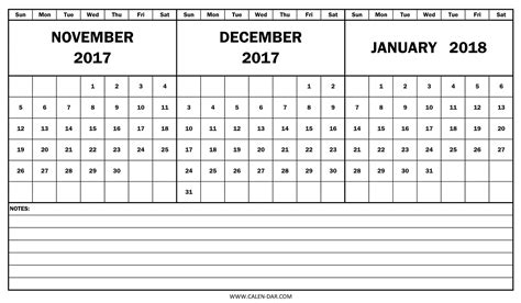 printable calendar november december january print monthly calendar november and december 2018