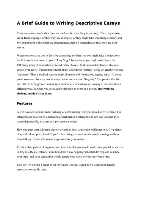 How To Start A Descriptive Essay by A Brief Guide To Writing Descriptive Essays