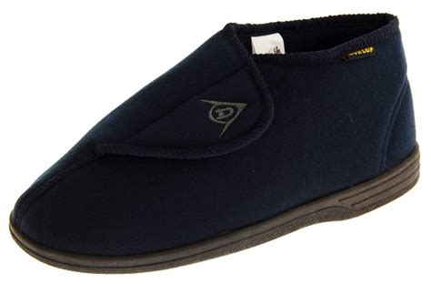 size 9 slipper boots mens dunlop navy blue orthopaedic velcro adjustable boot