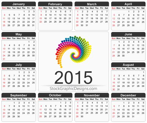 printable 2015 calendar template vector free download
