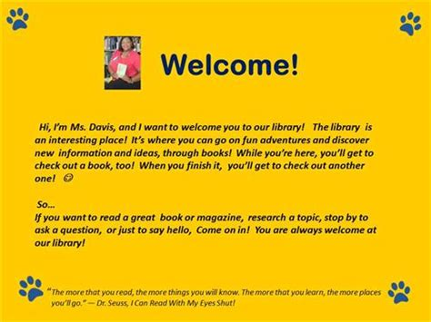 welcome message davis nedra library welcome message