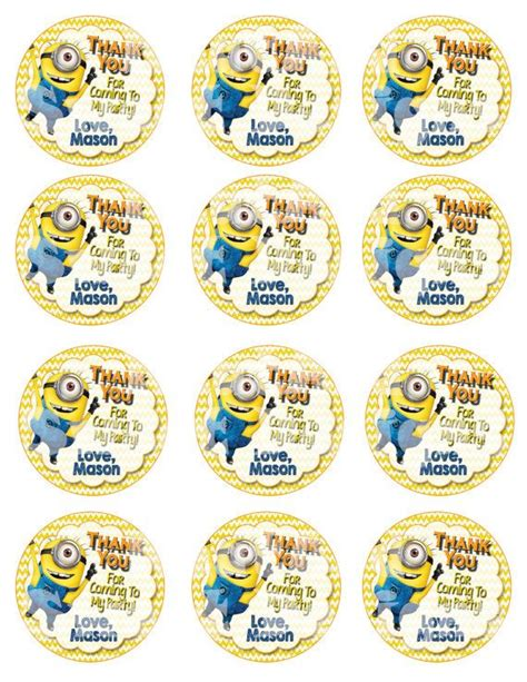minion thank you card template free printable despicable me minion favor tags by