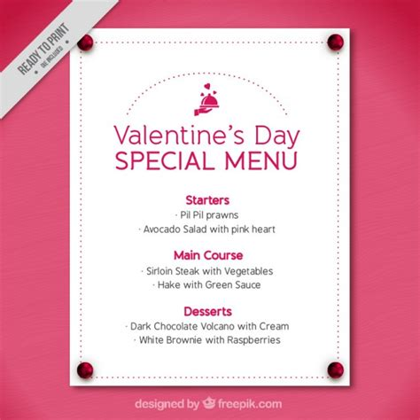 dotted valentine menu template vector free download