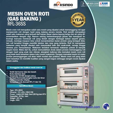 Oven Roti Maksindo mesin oven roti gas 6 loyang mks rs36 toko mesin