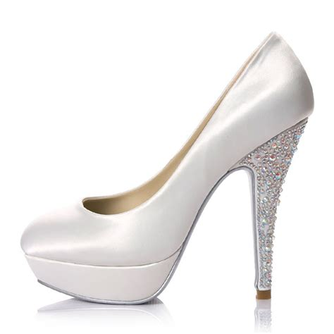 platform white wedding shoes with jeweled heel wedding