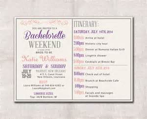 bridal shower itinerary template bachelorette weekend invitation itinerary bridal
