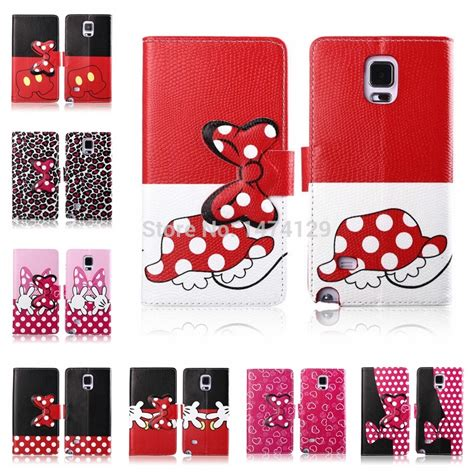 Flipshell Mickey Minnie Mouse Note 3 2014 new pu stand flip minnie mickey mouse leather for coque samsung galaxy note 4 n9100