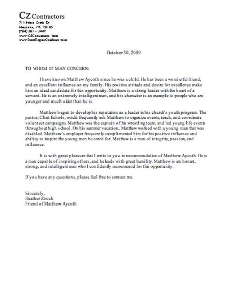 College Letter Of Recommendation Character letter of recommendation character reference sle