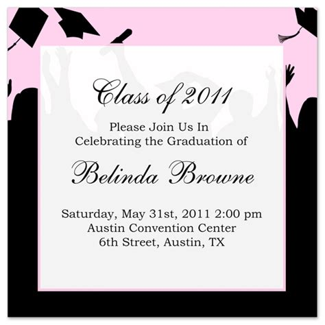 graduation invitation templates free word free graduation invitation announcement black