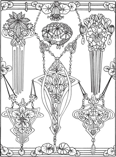 creative haven art nouveau jewelry designs coloring book