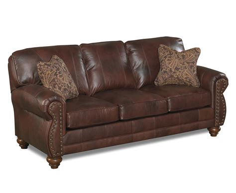 With Nailhead Trim by Best Home Furnishings Noble Stationary Leather Sofa With
