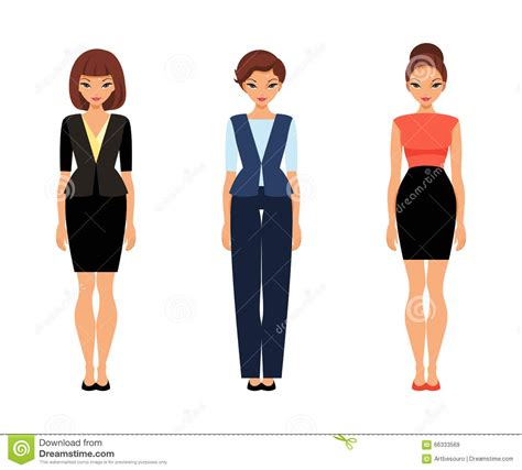 doll business three business in office clothes stock vector