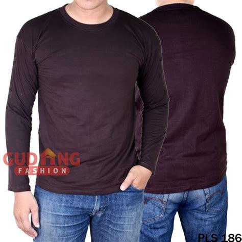 atasan kasual tshirt lengan panjang pria cotton cardet coklat tua pls 186 gudang fashion