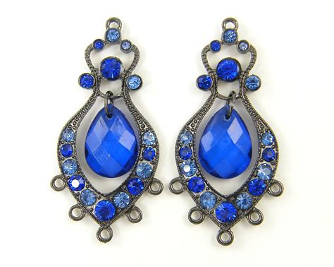 Gunmetal Chandelier Earrings Blue Chandelier Earring Findings Gunmetal Boho Antique Silver