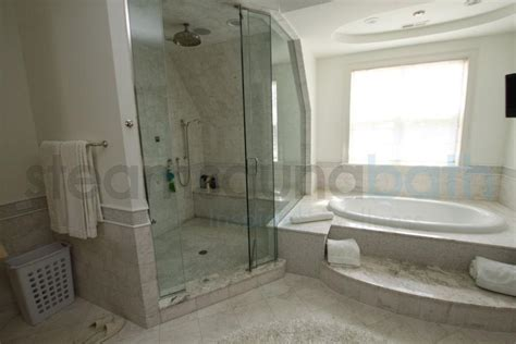 Side by Side steam shower and bathtub Photo Gallery and