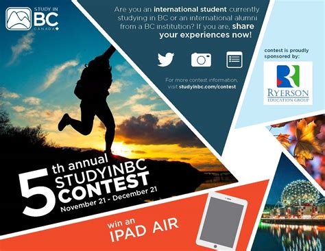 contest for students tell your students 5th annual studyinbc contest bccie