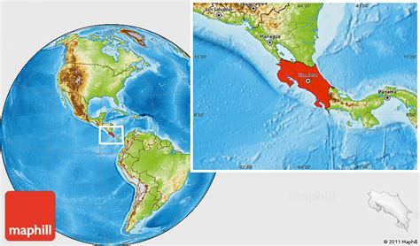 where is costa rica on a world map physical location map of costa rica