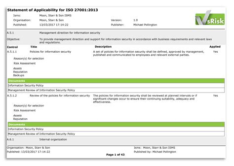 Iso 27001 2013 Statement Of Applicability Template The Statement Of Applicability In Iso 27001 2013 Vigilant Software Blog