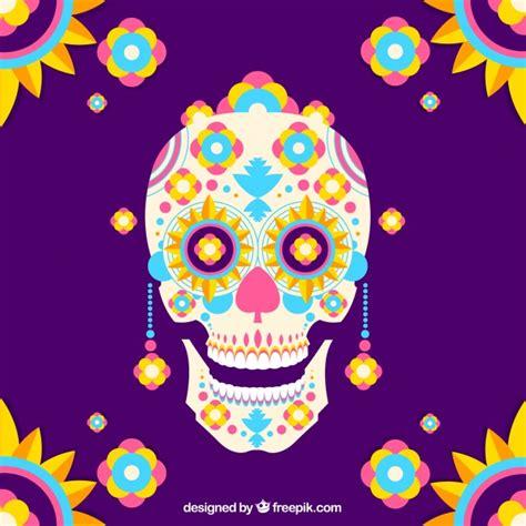 imagenes de calaveras animadas para niños fondo colorido de calavera mexicana en dise 241 o plano
