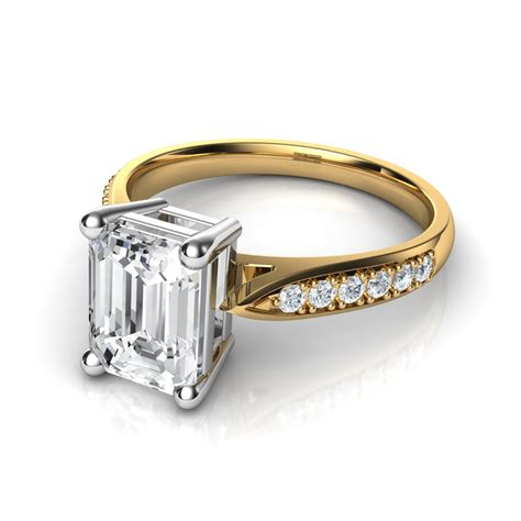 cathedral pave set emerald cut engagement ring