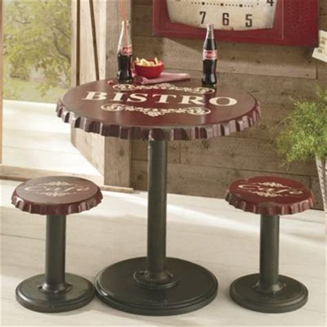 Bottle Cap Table And Stool Set by Bottle Cap Bistro Table And Stools From Seventh Avenue