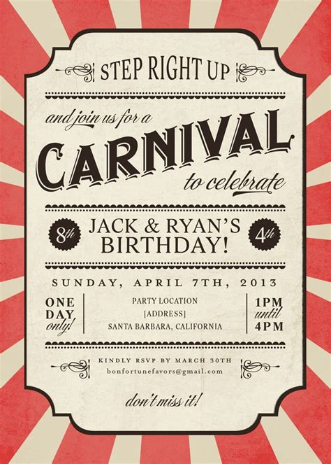Carnival Themed Invitations Templates by Carnival Invitation Templates Mathmania Me