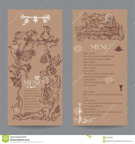 design menu vintage restaurant menu design with vintage label stock vector