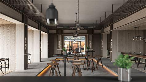 cafe interior design pdf industrial cafe 3d visualization design on behance