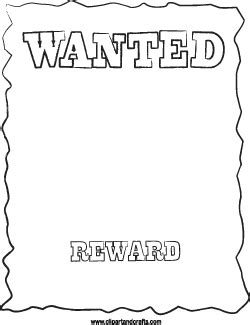 wanted poster line printable template